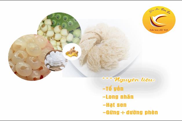 Nguyên liệu cho Yến chưng long nhãn hạt sen